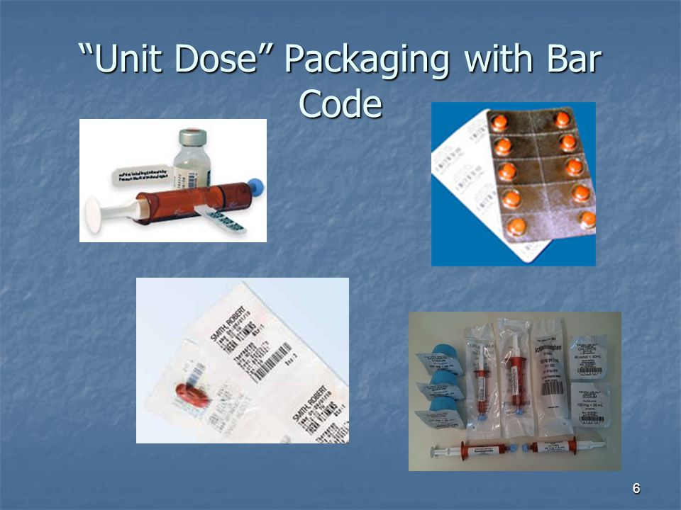 Unit Dose Packaging with Bar Code