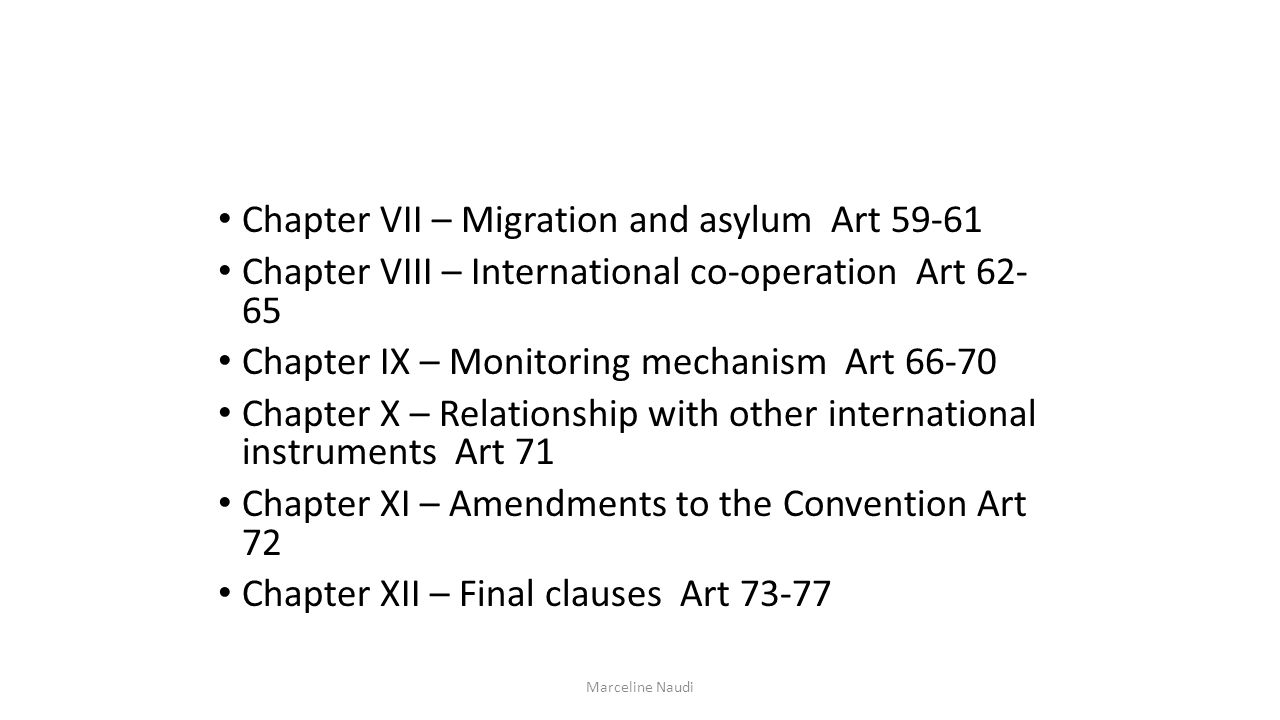 Chapter VII – Migration and asylum Art 59-61