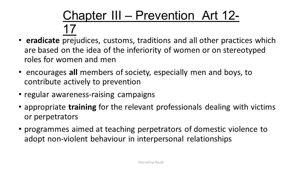 Chapter III – Prevention Art 12-17