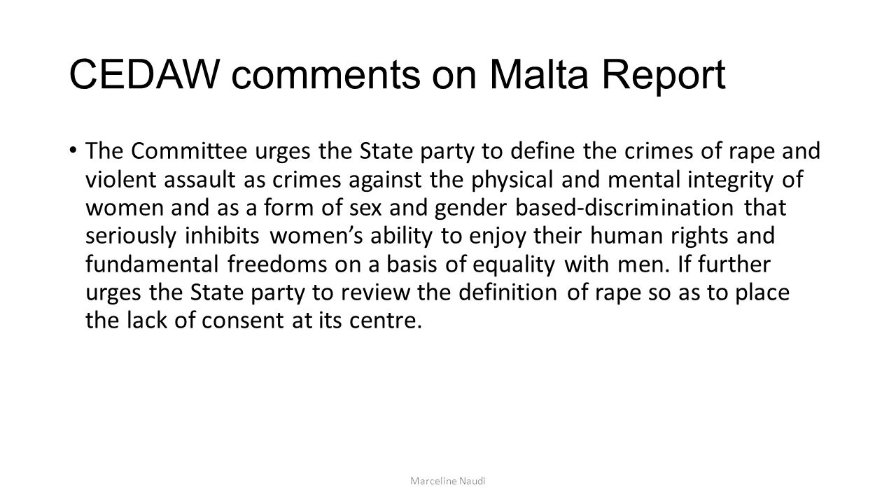 CEDAW comments on Malta Report