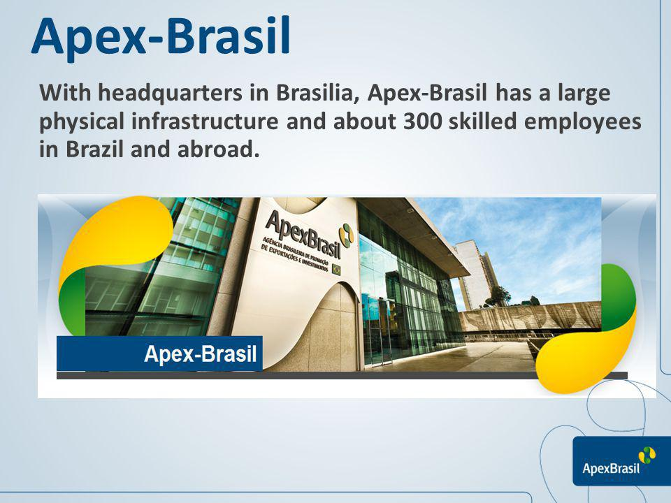 Apex-Brasil With headquarters in Brasilia, Apex-Brasil has a large physical infrastructure and about 300 skilled employees in Brazil and abroad.