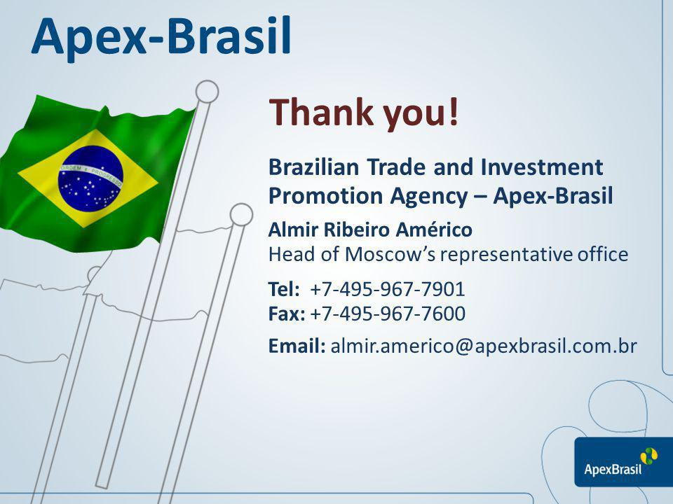 Apex-Brasil Thank you! Brazilian Trade and Investment Promotion Agency – Apex-Brasil. Almir Ribeiro Américo.