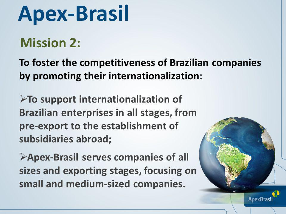 Apex-Brasil Mission 2: To foster the competitiveness of Brazilian companies by promoting their internationalization:
