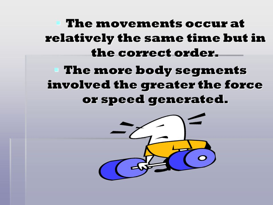 The movements occur at relatively the same time but in the correct order.