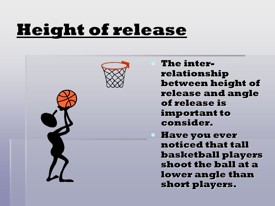 Height of release The inter-relationship between height of release and angle of release is important to consider.