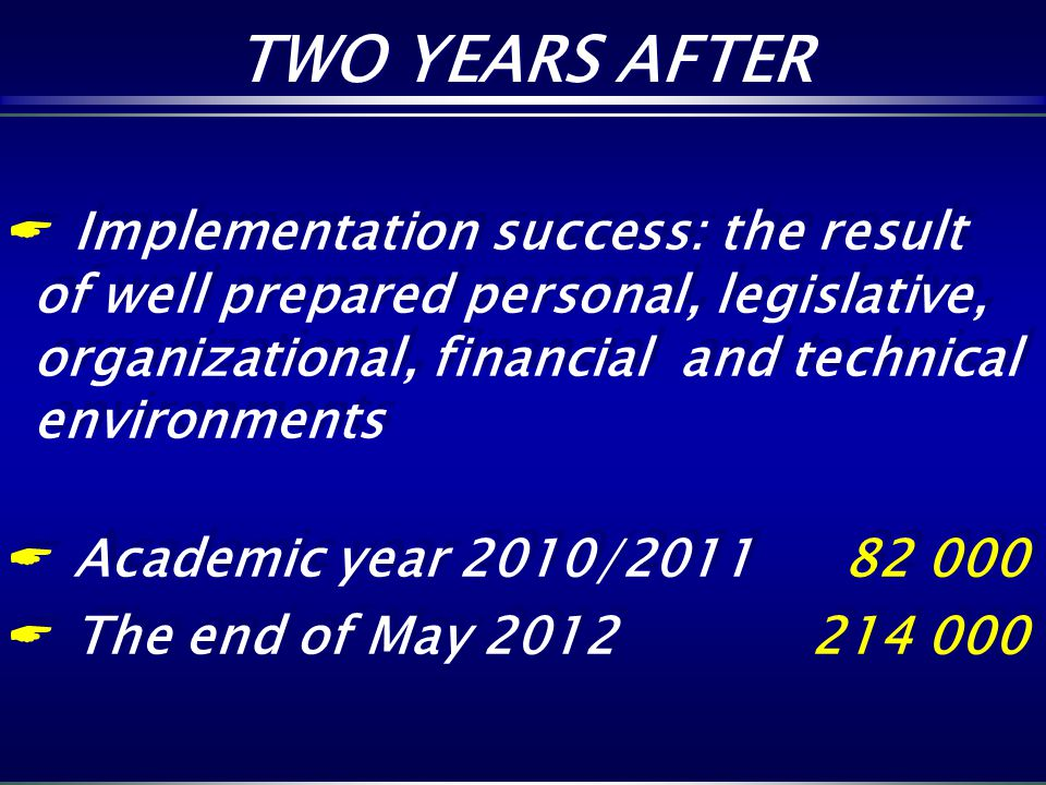TWO YEARS AFTER Implementation success: the result of well prepared personal, legislative, organizational, financial and technical environments.
