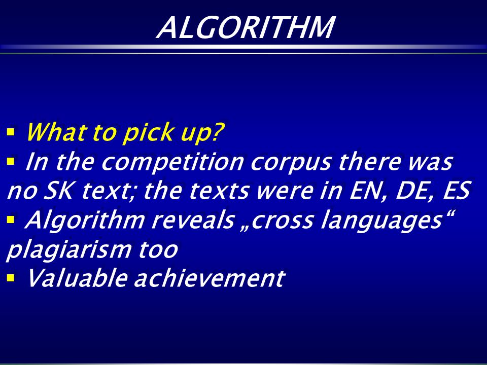 ALGORITHM What to pick up