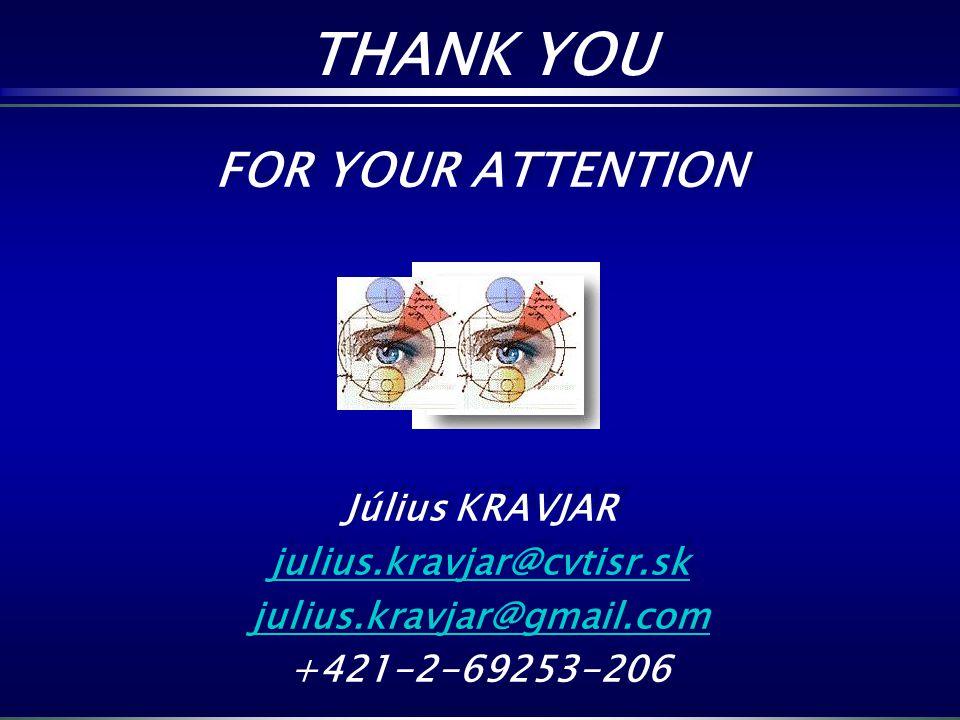 THANK YOU FOR YOUR ATTENTION Július KRAVJAR julius.kravjar@cvtisr.sk
