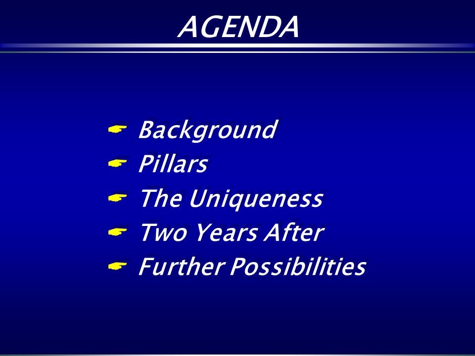 AGENDA Background Pillars The Uniqueness Two Years After