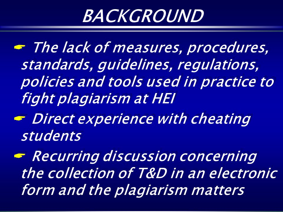 The lack of measures, procedures, standards, guidelines, regulations, policies and tools used in practice to fight plagiarism at HEI