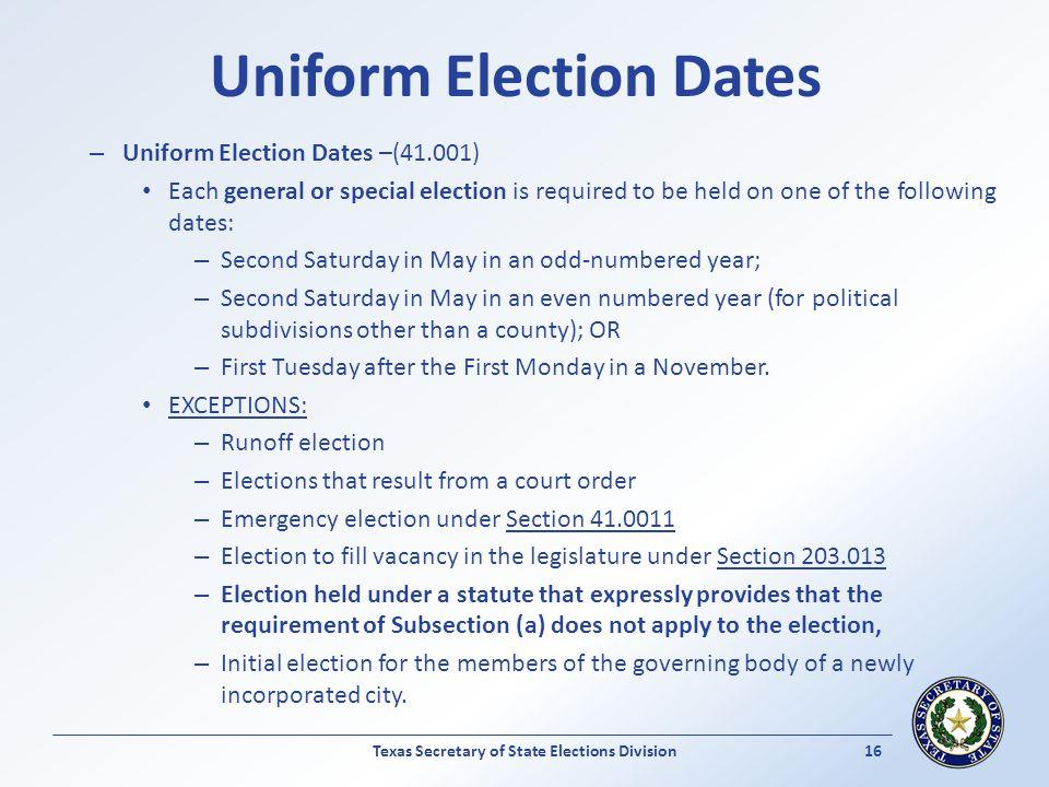 Uniform Election Dates