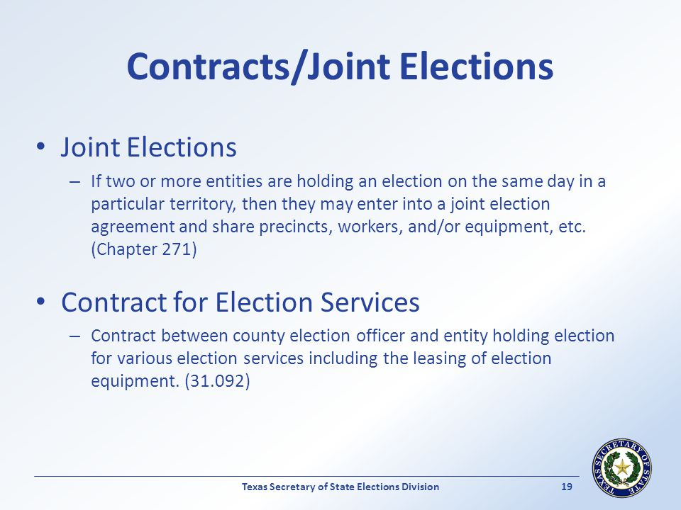 Contracts/Joint Elections