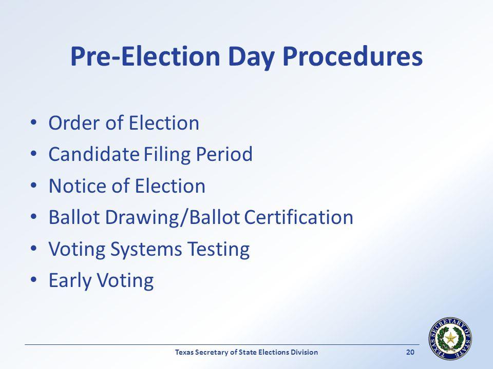 Pre-Election Day Procedures