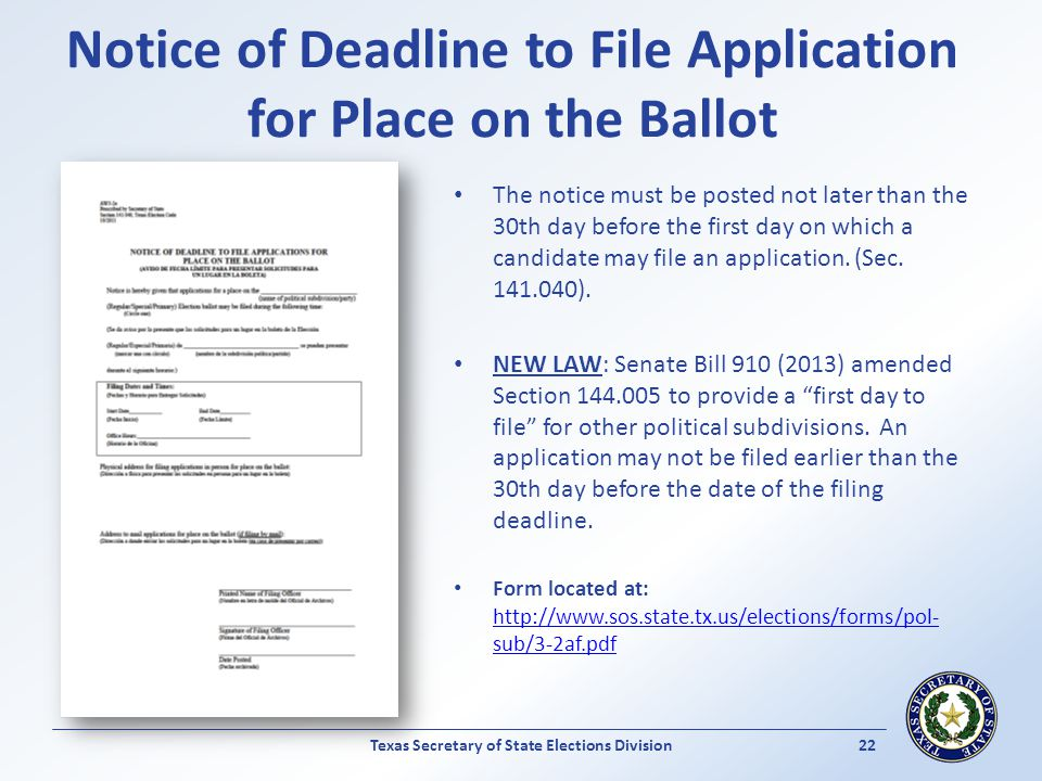 Notice of Deadline to File Application for Place on the Ballot