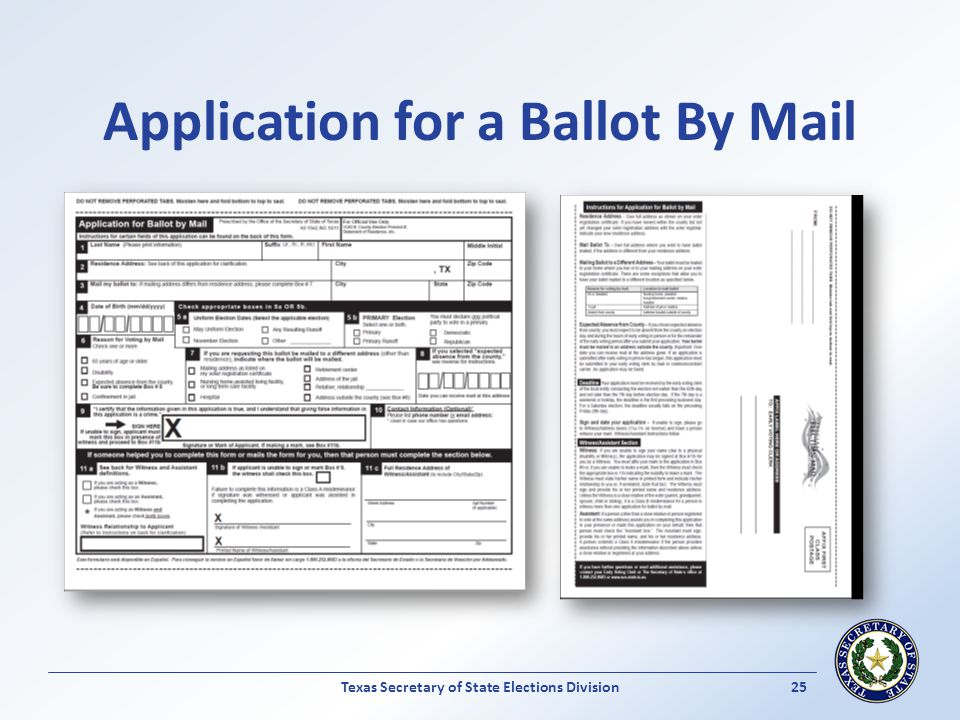 Application for a Ballot By Mail