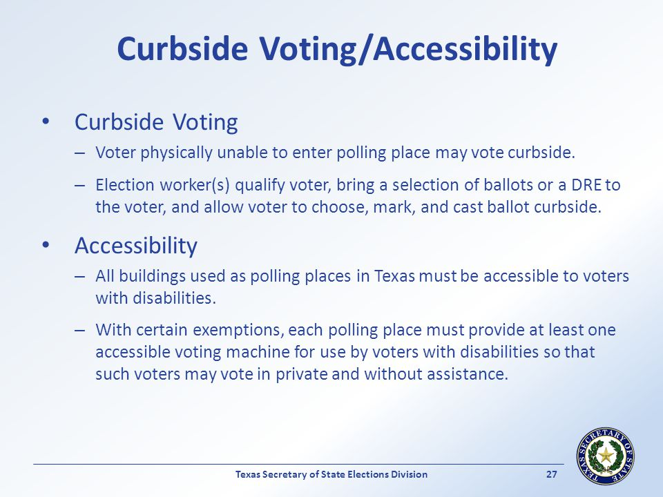 Curbside Voting/Accessibility