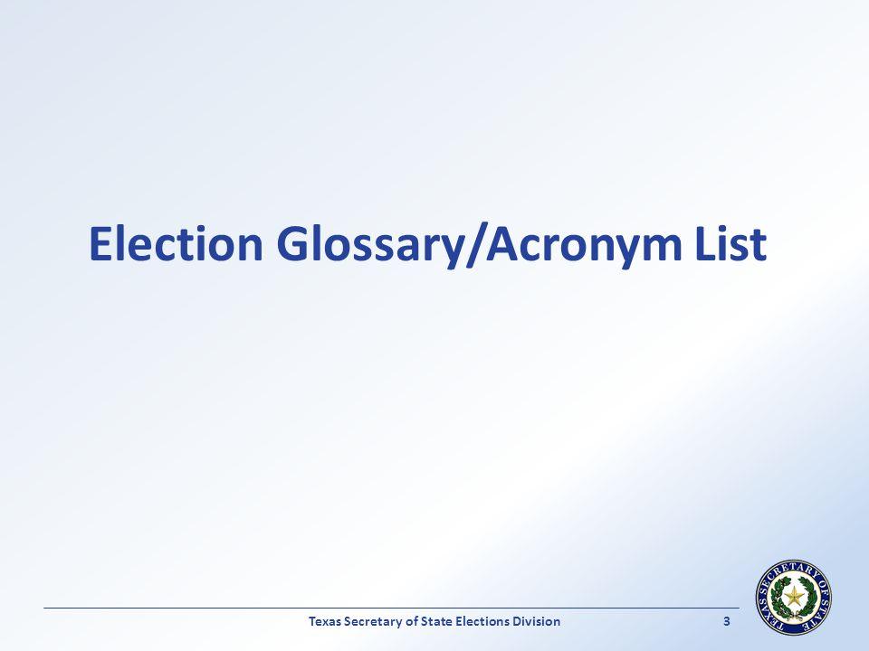 Election Glossary/Acronym List