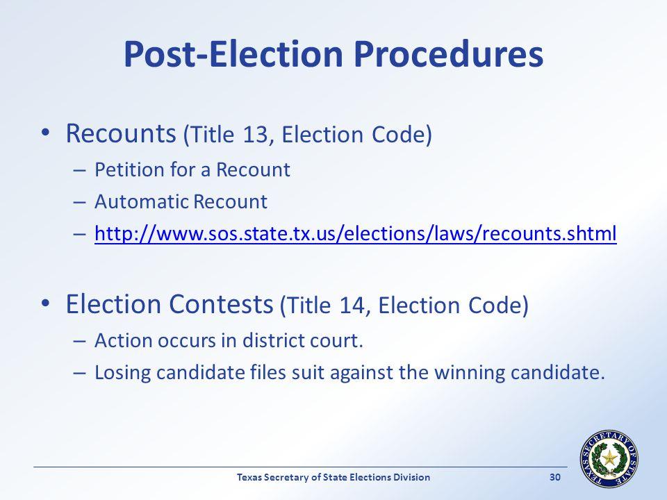Post-Election Procedures