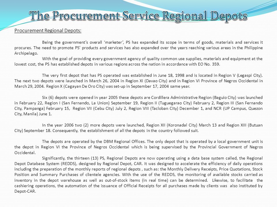 The Procurement Service Regional Depots