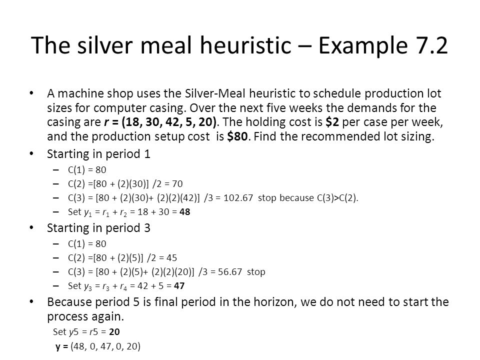 The silver meal heuristic – Example 7.2