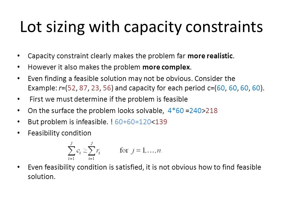 Lot sizing with capacity constraints