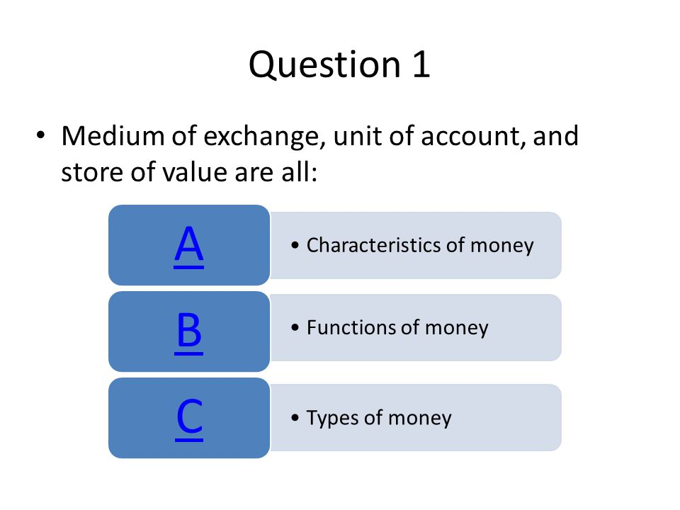 Question 1 Medium of exchange, unit of account, and store of value are all: A. Characteristics of money.