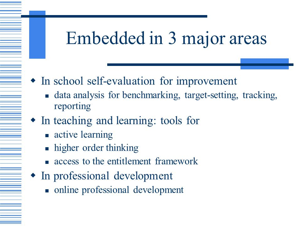 Embedded in 3 major areas