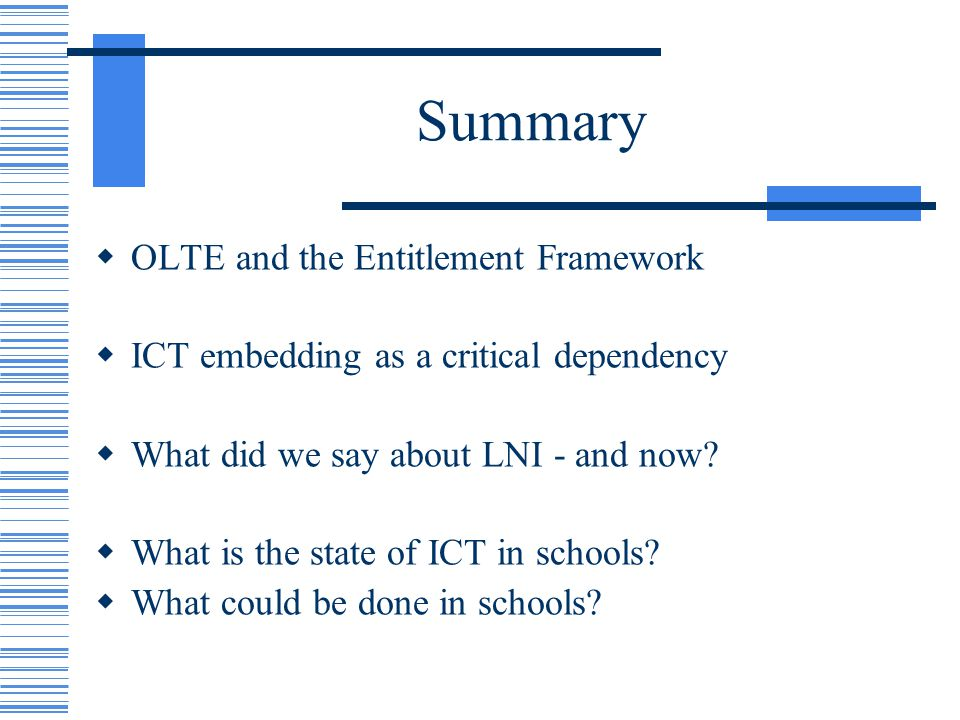 Summary OLTE and the Entitlement Framework