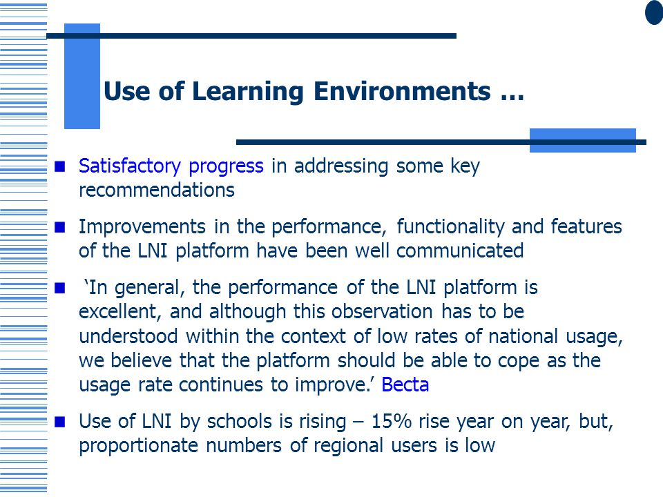 Use of Learning Environments …