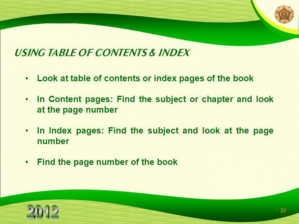 USING TABLE OF CONTENTS & INDEX