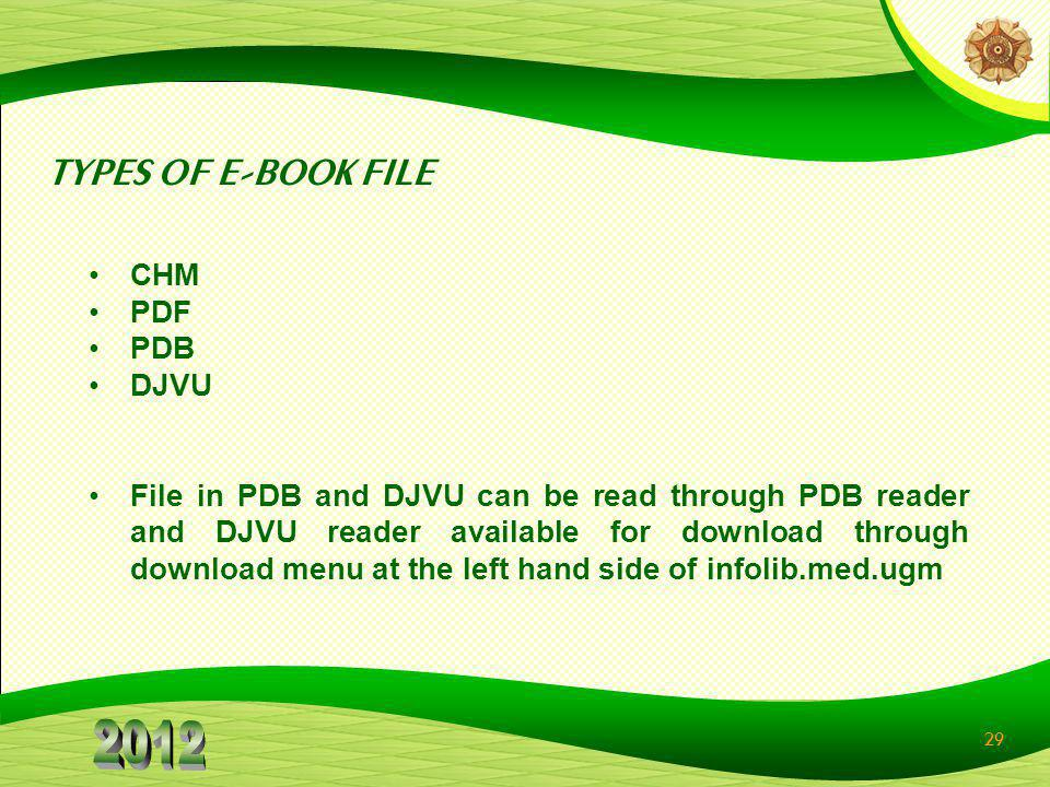 TYPES OF E-BOOK FILE CHM PDF PDB DJVU