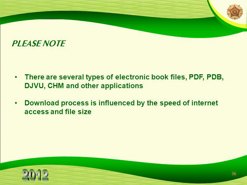 PLEASE NOTE There are several types of electronic book files, PDF, PDB, DJVU, CHM and other applications.