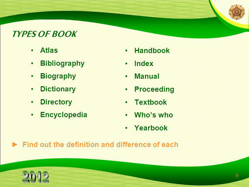 TYPES OF BOOK Atlas Bibliography Biography Dictionary Directory