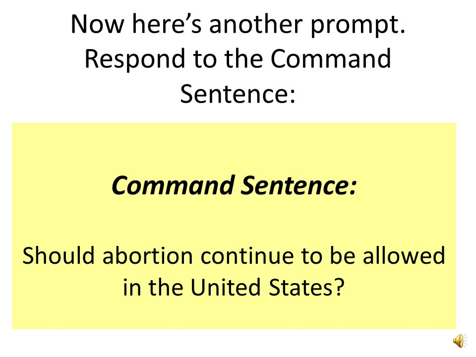 Now here's another prompt. Respond to the Command Sentence: