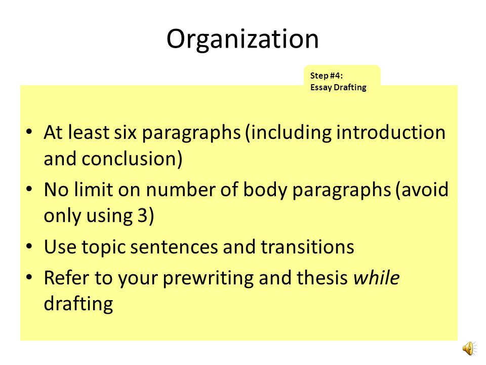 Organization Step #4: Essay Drafting. At least six paragraphs (including introduction and conclusion)