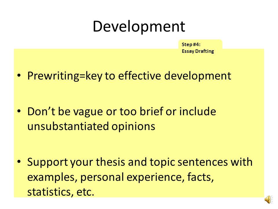 Development Prewriting=key to effective development