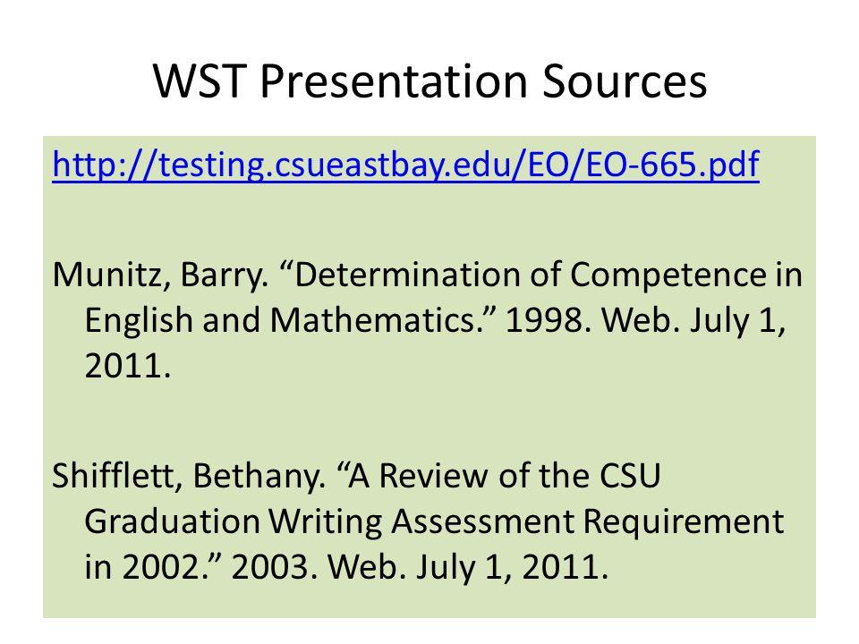 WST Presentation Sources
