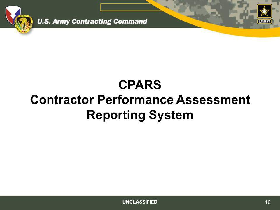 CPARS Contractor Performance Assessment Reporting System