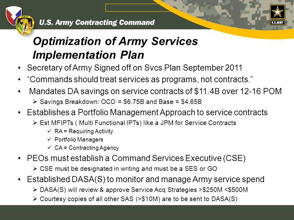 Optimization of Army Services Implementation Plan