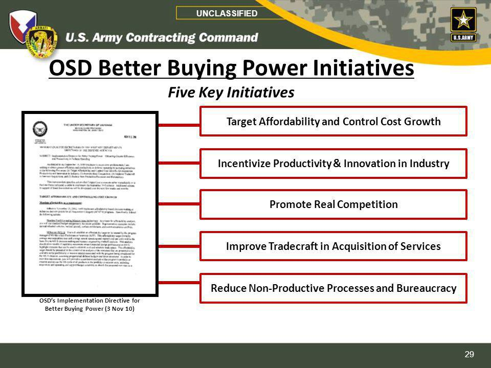 OSD Better Buying Power Initiatives