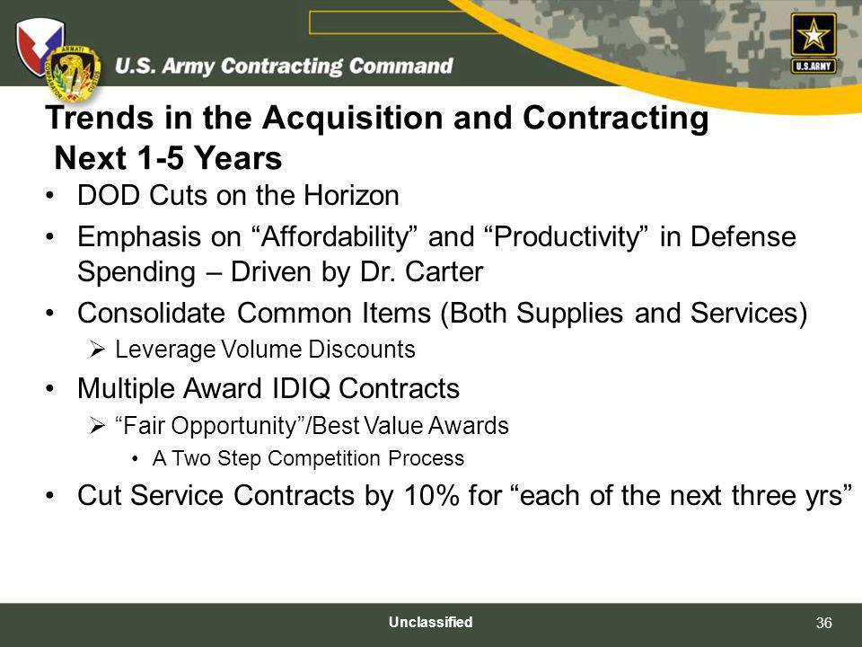 Trends in the Acquisition and Contracting Next 1-5 Years