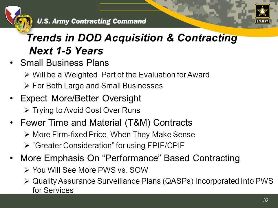 Trends in DOD Acquisition & Contracting Next 1-5 Years