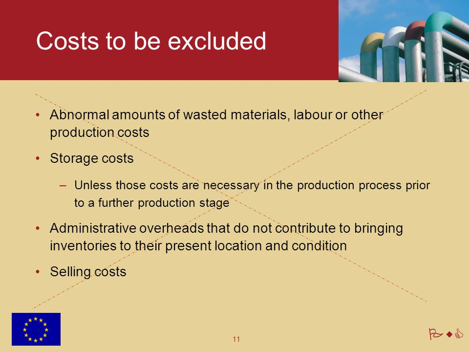 Costs to be excluded Abnormal amounts of wasted materials, labour or other production costs. Storage costs.