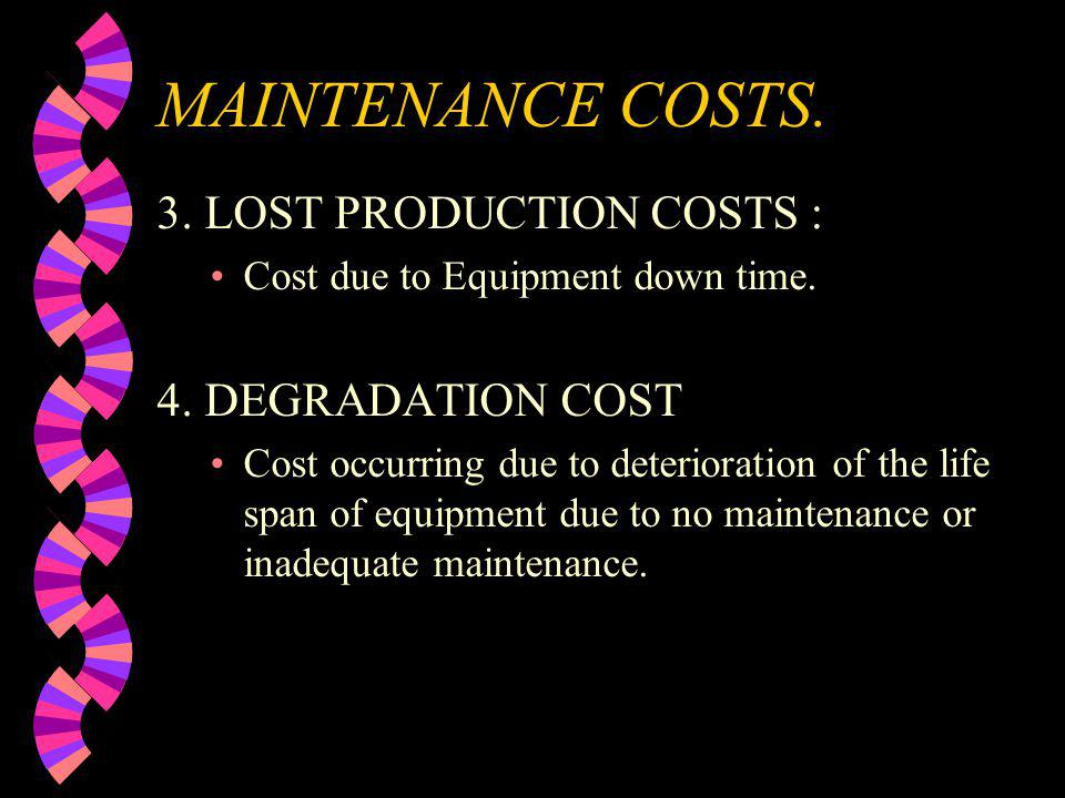 MAINTENANCE COSTS. 3. LOST PRODUCTION COSTS : 4. DEGRADATION COST