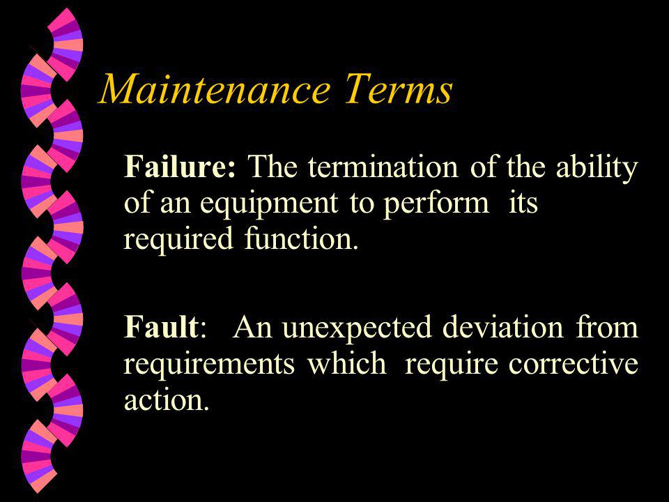 Maintenance Terms Failure: The termination of the ability of an equipment to perform its required function.