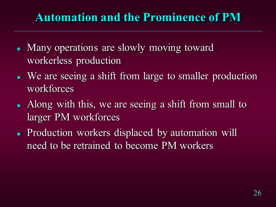 Automation and the Prominence of PM