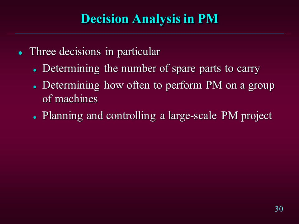 Decision Analysis in PM