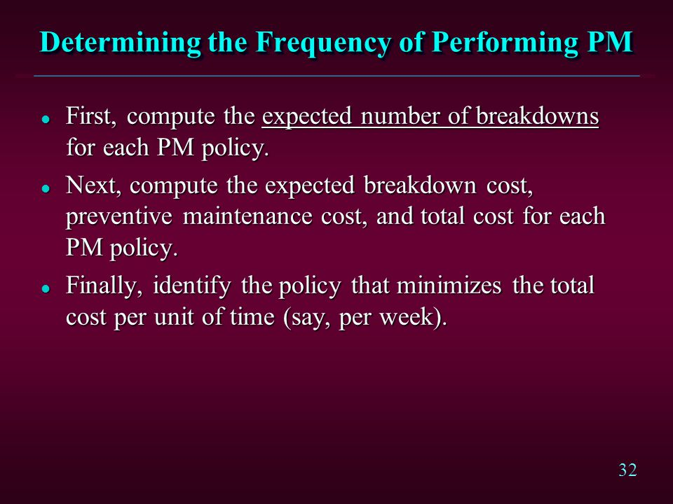 Determining the Frequency of Performing PM