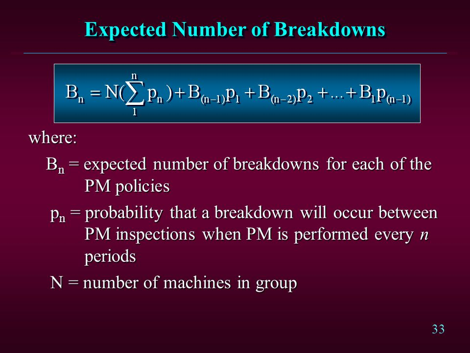 Expected Number of Breakdowns