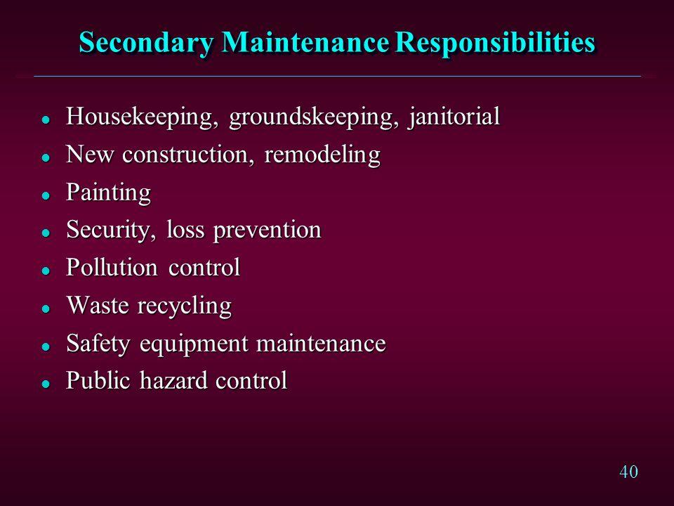 Secondary Maintenance Responsibilities